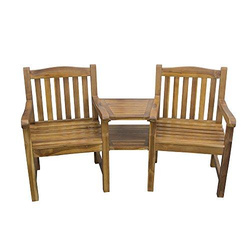 TRUESHOPPING Garden Duo Companion Loveseat Bench - Weatherproof Natural Solid Hardwood Jack and Jill Partner Seat with Table - Stunning Golden Toned Garden, Patio & Decking Furniture
