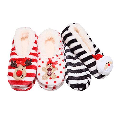Angelina Women's Winter-Weight Sherpa-Lined Holiday Slipper Socks (3-Pairs)