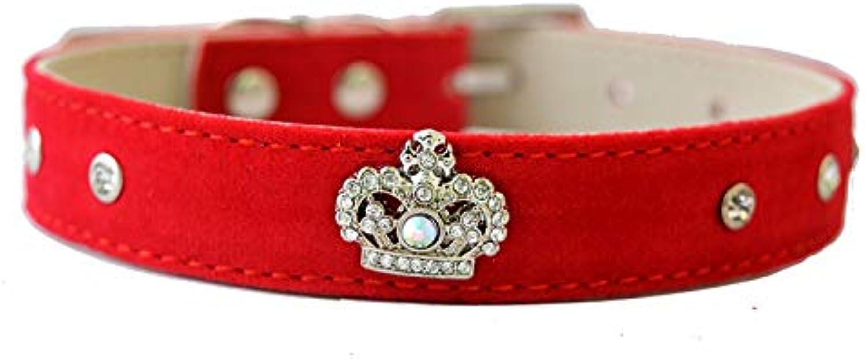 Pet Online Fashion Crown Pet Collar Leather Dog Collar,red,2×2836cm