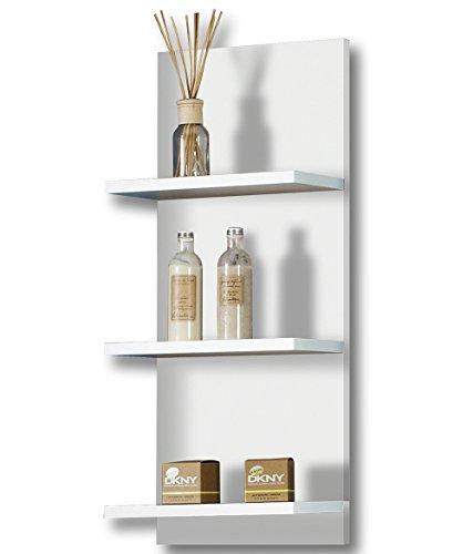 lifestyle4living Hängeregal in perlweiß, mit 3 Böden in weiß, Maße: B/H/T ca. 30/70/17,5 cm