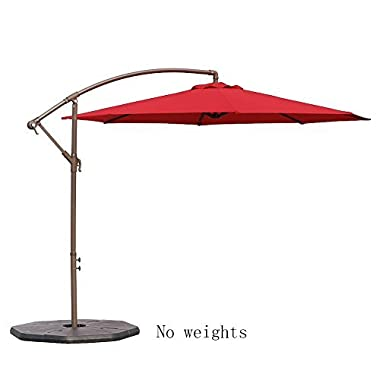 Le Papillon 10-ft Offset Hanging Patio Umbrella Aluminum Outdoor Cantilever Umbrella Crank Lift, Red [New Generation Production]