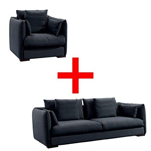 SHINE MOUNT - Sillón y sofá de 3 plazas color gris oscuro