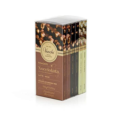 Venchi Kit Degustazione con 6 Tavolette di Cioccolato Nocciolato- Nocciolato al Latte- Fondente e Bianco Salato- senza Glutine- 600 Grammi