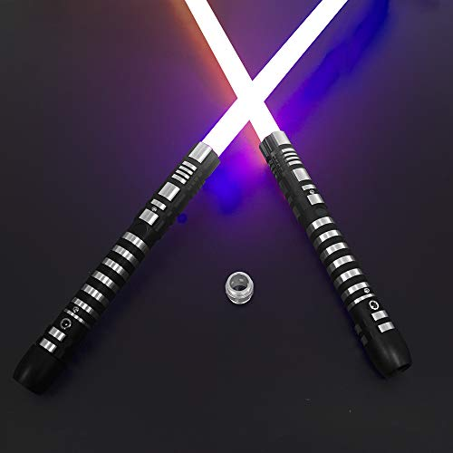 YDD Lightsaber RGB 16 Colors Changing Metal Aluminum Hilt, Ghost Premium Force FX Black Series Light Saber with 3 Mode Sound,for Adults, Support Real Heavy Dueling (Set of 2(Black))