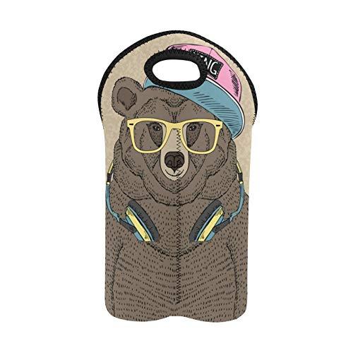 Wine Bag Cartoon Hip Hop Tide Bear Skateboard Wine Bottle Tote Bag Double Bottle Carrier Wine Carrier Bag Thick Neoprene Wine Bottle Holder Keeps Bottles Protected