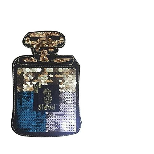 Parches para Ropa Paquete de Lentejuelas de la Botella de Perfume Paquete de Parches Pegatinas de Ropa Mochila Pegatinas Decorativas (5pcs) 13.5 * 20.5cm (Color : Blue)