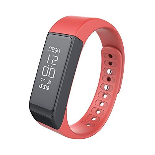 Pulsera de la Banda de la muñeca Bluetooth 4.0 Actividad Passómetro Monitor de sueño Alarma Negro (Color: Azul) DAKSL (Color : Red)