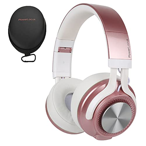 PowerLocus Bluetooth Auriculares Diadema, [Bluetooth 5.0,40h de música] Cascos Bluetooth Inalámbrico Plegable Casco Bluetooth y Cable Sonido Estéreo con Micrófono para iPhone,Móviles,TV, PC, Oro Rosa
