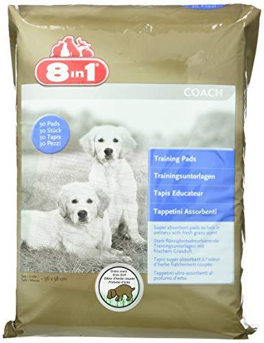 8in1 - Lot de 30 tapis éducateur pou chien parfum herbe fraîche