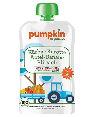 Pumpkin Organics WONNE | Bio Gemüse-Quetschie aus Kürbis, Karotte mit Apfel, Banane und Pfirsich (8 x 100g) I Babynahrung ab dem 6. Monat