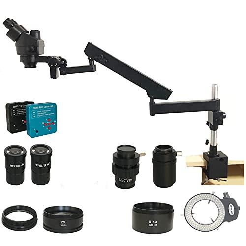 Yhtech Nave from España 3.5x-90x SIMUL Focal Focal ARRICULAR ARRICTURA ARRamp Microscopio Estéreo 38MP HDMI Cellphone Cámara Microscopio (Color : Black)