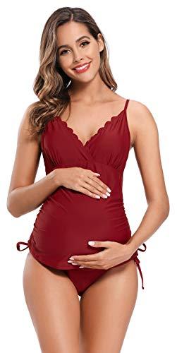 SHEKINI Mujer Bañador Split Maternity Trajes de Baño Tankini Bañadores Trajes de Baño de Talla Grande para Mujer (M, Vino Tinto)