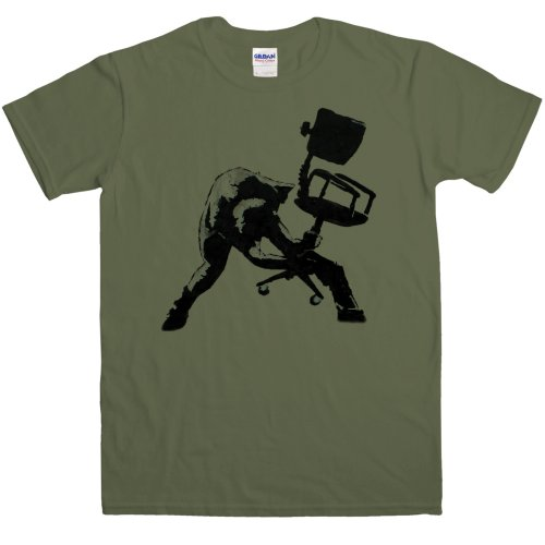 Refugeek Tees - Hombre Banksy Camiseta - Office Chair Clash