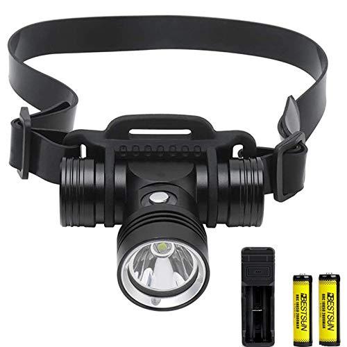 Faros de buceo LED de alto lúmenes 2000 lúmenes Linterna frontal de natación recargable 3 modos de iluminación IPX8 Luz de cabeza subacuática impermeable Lámpara de cabeza de seguridad para buceo.