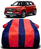 DRIZE Hyundai Venue Car Cover Waterproof with Triple Stitched,Mirror Pockets,Fully Elastic Ultra Surface Body Protection (Red Stripes)