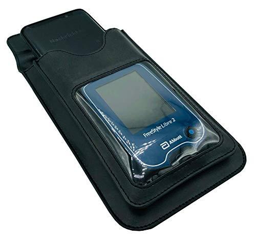 SEWAS Diabetic Care, Freestyle Libre 2 & Smartphone Duo Kombi Tasche, zum Umhängen, mit Gürtelschlaufe und Sichfenster