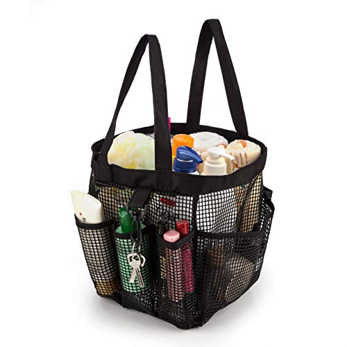 ARCCI Mesh Totes Shower Caddy Portable Bath & Toiletry Organizer Bag with 8 Outer Pockets & Key Hook for College Dorm, Travel, Gym & Camping - Black