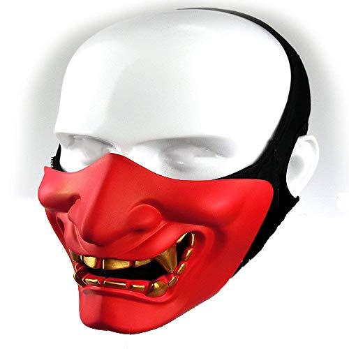 Supspy Samurai Airsoft Mask Tactical Prajna Half Face Ninja Hannya Oni Motorcycle Evil Demon Knight Kabuki Mask for Halloween Cosplay Costume Hunting Shooting (red)