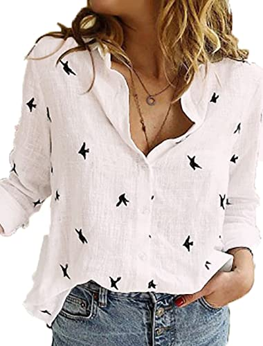 White Womens Cotton Linen Button Down Shirt Long Sleeve V Neck Fashion Blouse Printed Casual Tops for Work Birds X-Large