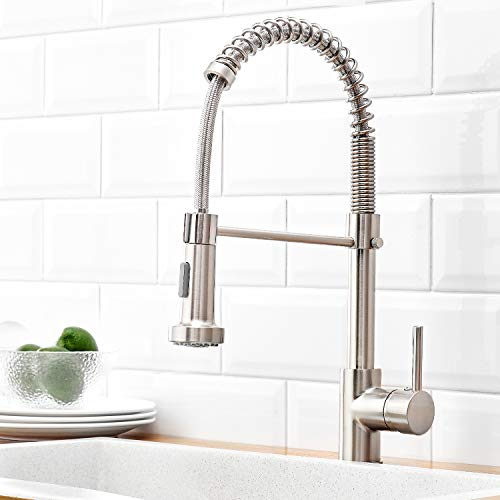 Qomolangma Kitchen Faucet Lead Free High Arc Spring Kitchen Sink Faucet with Pull Down Sprayer, Single Handle Single Lever Pull Out Kitchen Faucet,Brush Nickel
