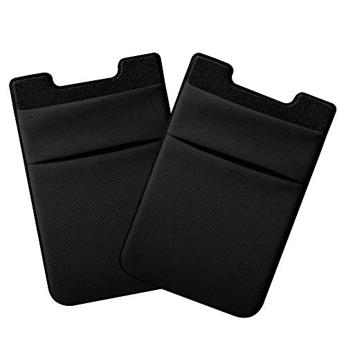 COCASES Tarjetero de móvil, Funda de Licra Flexible Pegada en teléfono Móvil para Tarjetas de Crédito,Bolsa de Manga Compartible con 4' móviles Inteligentes (2 Piezas) (2 Capa (Negro))