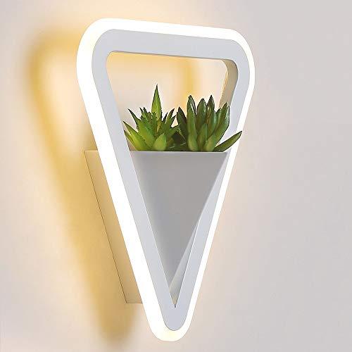 XLTT Triángulo Blanco LED Lámpara De Pared Plantas Verdes Pasillo Dormitorio Comedor Sala De Estar Estudio Balcón Hierro Acrílico Luz Amarilla Cálida Moderno Simple Minimalismo Hueco
