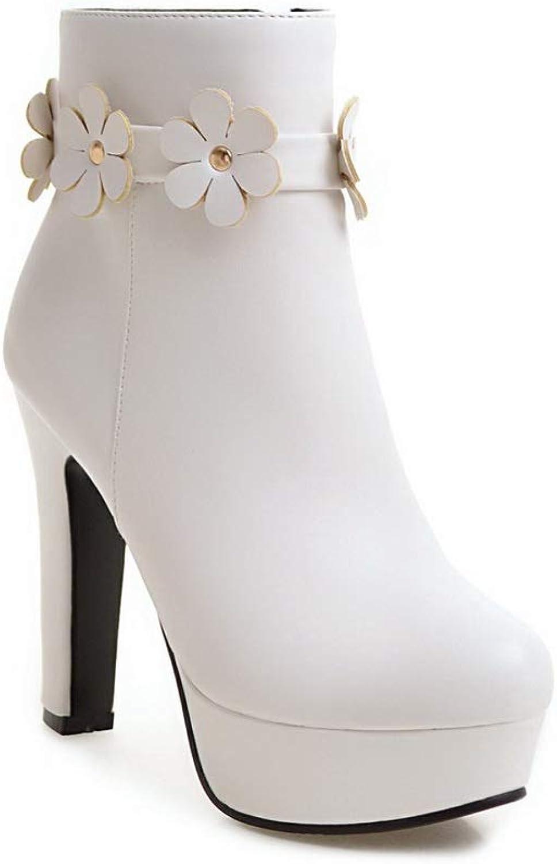 AN Womens Chunky Heels Platform Zipper Urethane Rain Boots DKU02207