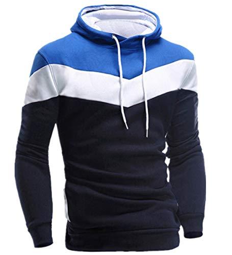 KPILP Männer Übergröße Herbst Winter Retro Patchwork Langarm-Shirt Hoodie Sweatshirt Oberteile Jacke Mantel Outwear(Marine, M)