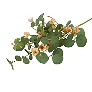 AMF0RESJ 3 Pcs Spring Eucalyptus Leaves Stems, Artificial Greenery Eucalyptus Branches with Spring Pink Cherry Blossom Silk Flower and Pink pip Berries for vase Home Wedding Decor
