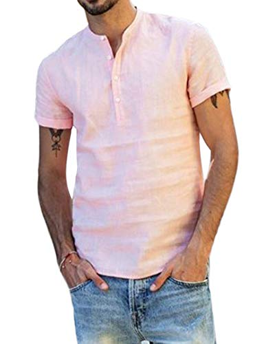 Quge ENS informal de manga corta de lino Camisa Henley tapas