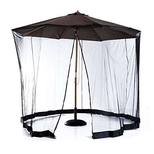 Nfudishpu Patio Umbrella Mosquito Netting, Umbrella Net Cover Screen, Polyester Mesh Screen with Zipper Opening and Water Tube at Base to Hold in Place