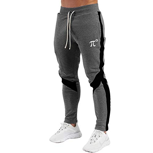PIDOGYM Men's Track Pants,Slim Fit Athletic Sweatpants Joggers with Zipper Pockets,Dark Grey,Medium