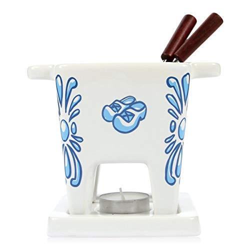BOSKA Tapas Fondue Delfter Blau/auch für Schokolade/für 200 ml Käse/Keramik/Weiß