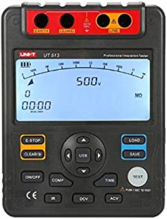 UNI-T UT513 Digital Insulation Resistance Tester, 500V/1000V/2500V/5000V, Auto Range, Display Count: 9999