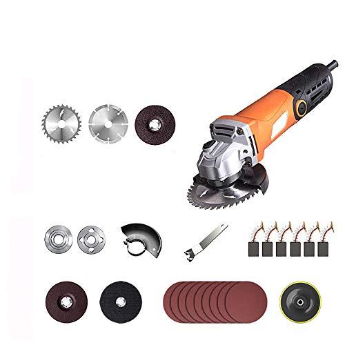 Amoladora Angular,1800W de 100mm y 10000r/min con Ruedas Esmerilar/Pulir/Cortar, 1 Cubiertas Protectoras de Ruedas y 1 Mango Auxiliar, Para Trabajos de Rectificado