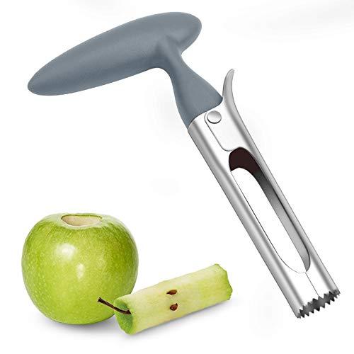 Apfelentkerner, Apfelausstecher mit ABS Griff, Edelstahlklinge in Lebensmittelqualität und Gezahnter Rand, Praktischer Apfelkernausstecher,Grau