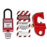 Bonarty Cerraduras De Disyuntor De Plástico En Miniatura De Seguridad Industrial Set Safety Red - CB-02-S