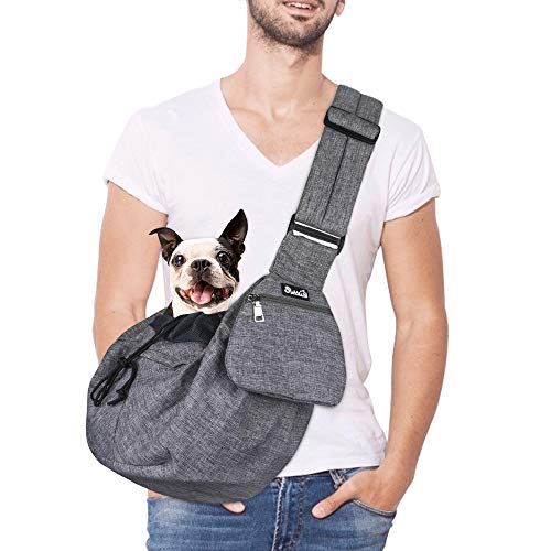 SlowTon Pet Sling Carrier, Dog Papoose Hand Free Puppy Cat Carry Bag with Bottom Supported Adjustable Padded Shoulder Strap and Bag Opening Front Zipper Pocket Safety Belt for Small Dogs Daily Use