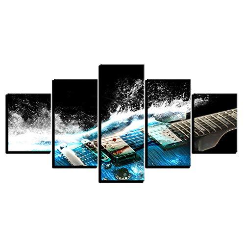 HONGFU-Guitarra eléctrica Azul 5 Piezas HD Impresiones del Arte de la Pared...