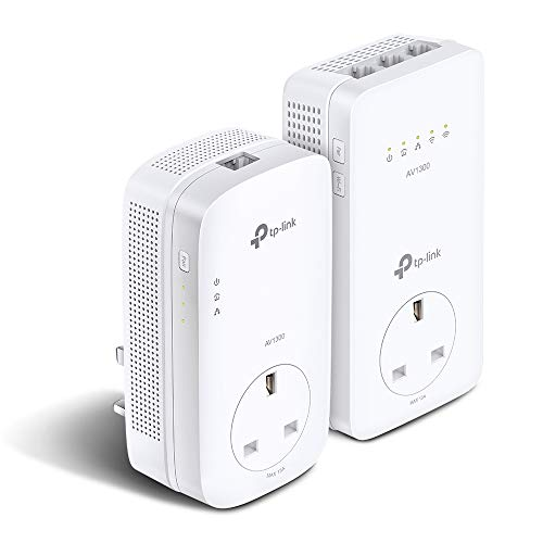 TP-Link V2 Dual Band Gigabit AC1200 Powerline ac Wi-Fi Kit, Wi-Fi Extender/Booster, Speed Up to 1300 Mbps, Extra Power Socket, Works with OneMesh™, No Configuration Required, UK Plug(TL-WPA8631P KIT)