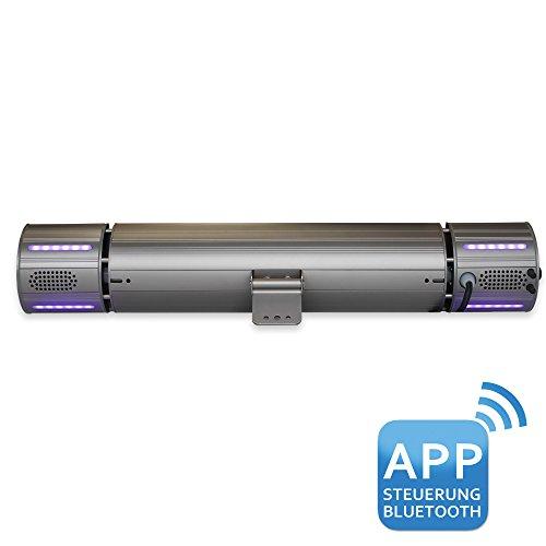 VASNER Appino BEATZZ Grau Grey Infrarotstrahler dimmbar 2000 Watt mit Bluetooth, LED Backlight Licht, Musik-Lautsprecher Außenbereich - 5