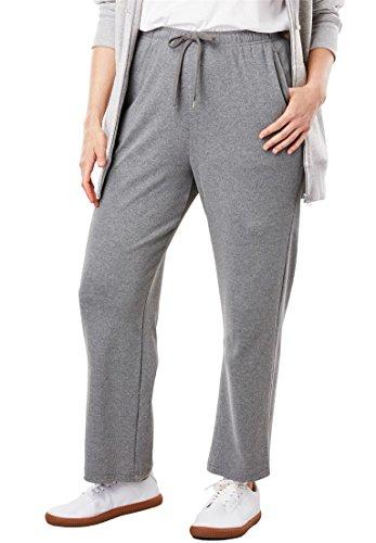 Woman Within Plus Size Sport Knit Straight Leg Pant - Medium Heather Grey, 1X