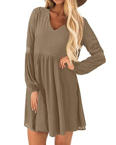 YOINS Kleider Damen Sommerkleid für Damen Brautkleid Tshirt Kleid Rundhals Langarm Minikleid Winterkleid Langes Shirt Lose Tunika Baumwolle-Khaki EU40-42