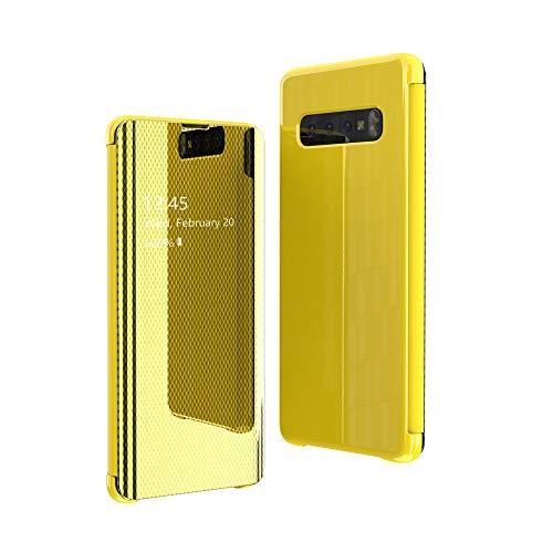 CrazyLemon Hülle für Samsung Galaxy S10 Plus, Dünn Leicht Flip Sichtbar Spiegel Schutzhülle PU Leder + Mikrofaser PC Hybrid Stoßfest Handyhülle - Gelb