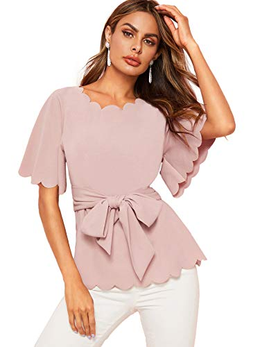 Romwe Women's Bow Self Tie Scalloped Cut Out Short Sleeve Elegant Office Work Tunic Blouse Top Pink Medium