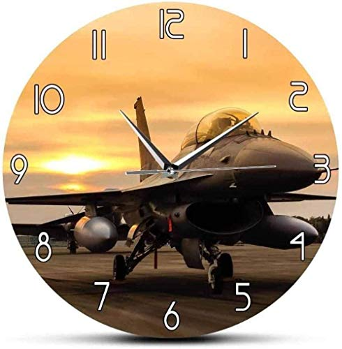 BINGTANGXUELI Co.,ltd Reloj De Pared Falcon Fighter Aircraft Reloj De Pared De Aviones Us Air Force Aircraft Arte De Pared Decoración De Aviación Piloto Militar Regalo Reloj De Pared-30X30Cm