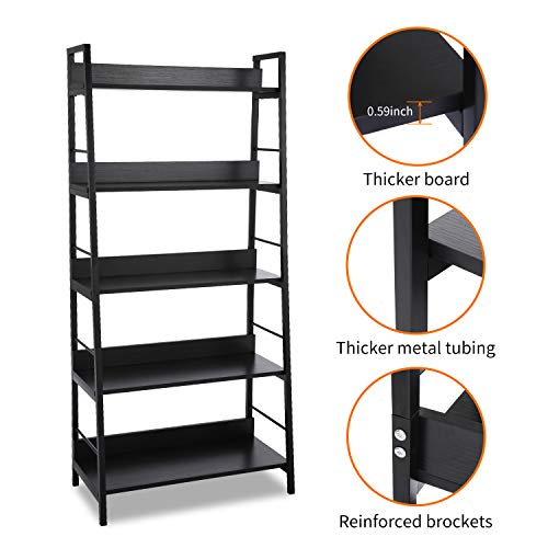 Homdox 5 Tier Ladder Shelf, Industrial Bookshelf Wood and Metal Bookcase, Plant Flower Stand Rack Book Rack Storage Shelves for Home Decor