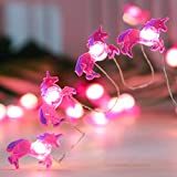 Unicorn String Lights, Holitown Kids Room Decor Fairy Tale Theme Fairy Ligths, 10ft 30LED with Remote, Battery Powered Lights for Wedding, Home Party, Bedroom,Holiday Celebrate (Red)