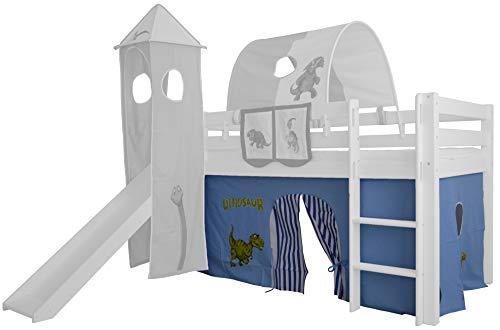 XXL Discount Vorhang 3-teilig 100% Baumwolle Stoffvorhang Bettvorhang inkl Klettband für Hochbett Spielbett Etagenbett Stockbett Kinderbett (Blau/Weiß, Dino)