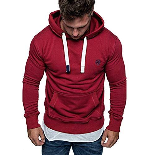 Yvelands ¡Oferta Sudaderas con Capucha para Hombre Cosy Sport Outwear Sudadera con Cremallera Completa Ecosmart Hoodie Casual Sweatshirt Top Blouse ¡Caliente!(Rojo3,S)